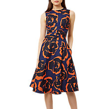 Buy Hobbs Twitchill Dress, Navy/Tangerine Online at johnlewis.com