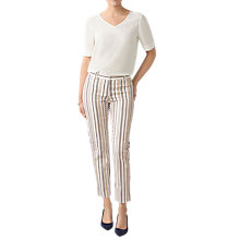 Buy Pure Collection Striped Carpi Trousers, Neutrral Online at johnlewis.com