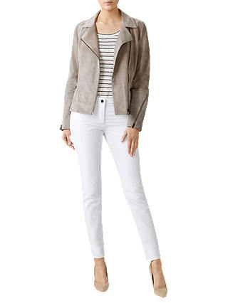 Buy Pure Collection Suede Biker Jacket, Soft Taupe, 8 Online at johnlewis.com