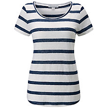 Buy Pure Collection Luxury Linen Striped T-Shirt, White/Navy Online at johnlewis.com