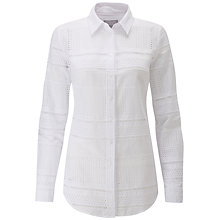 Buy Pure Collection Cotton Broderie Shirt, White Online at johnlewis.com