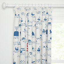 Buy little home at John Lewis Noisy Harbour Pencil Pleat Blackout Lined Children's Curtains Online at johnlewis.com