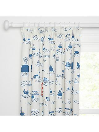 little home at John Lewis Noisy Harbour Pencil Pleat Pair Blackout Lined Children's Curtains