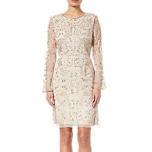 Buy Adrianna Papell Beaded Short Dress, Biscotti Online at johnlewis.com