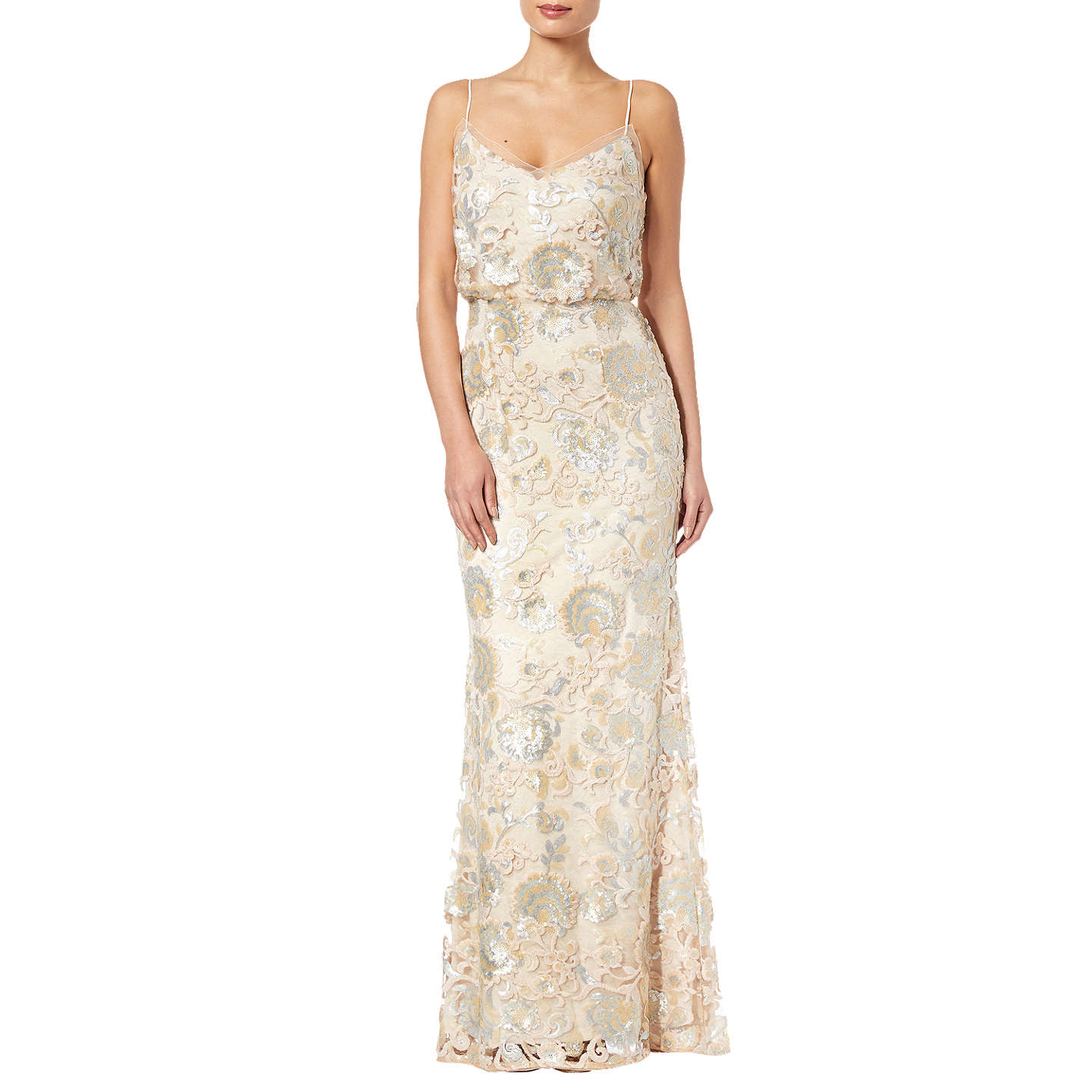 Adrianna Papell Blouson Sleeveless Sequin Lace Gown, Almond at John ...