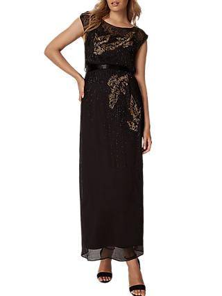 Phase Eight Morina Beaded Bird Maxi Dress, Black