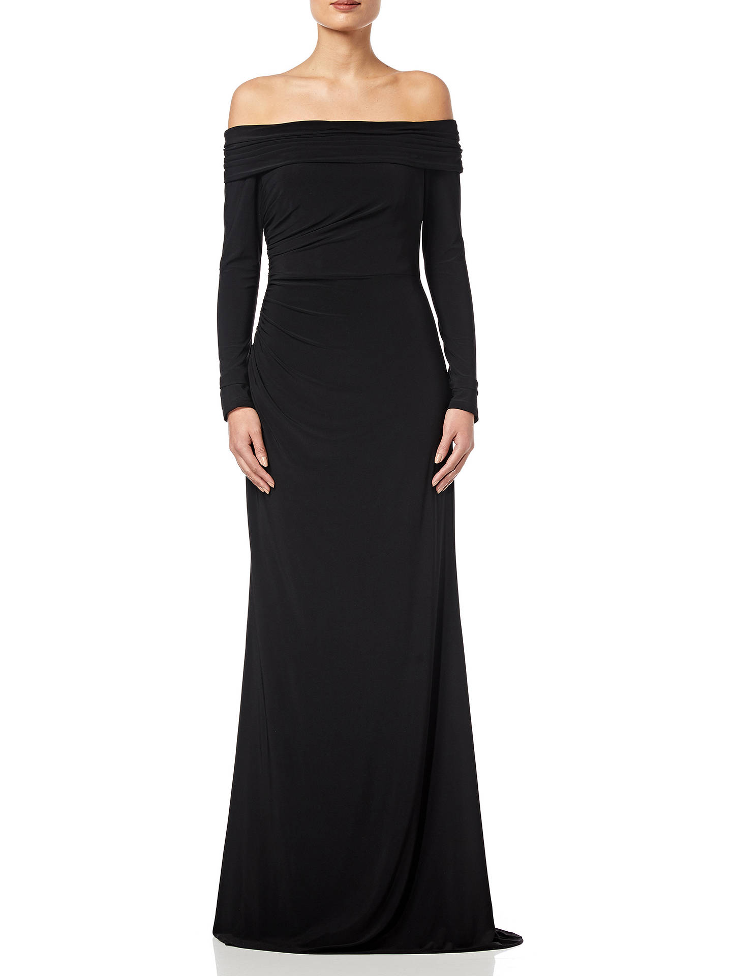BuyAdrianna Papell Draped Jersey Long Dress, Black, 6 Online at johnlewis.com