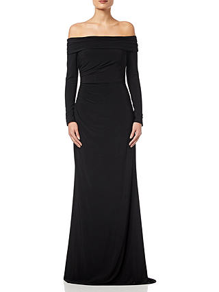 Buy Adrianna Papell Draped Jersey Long Dress, Black, 6 Online at johnlewis.com