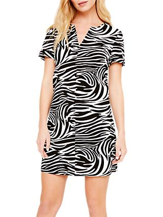 Damsel in a Dress Zebra Print Tunic Dress, Black/White