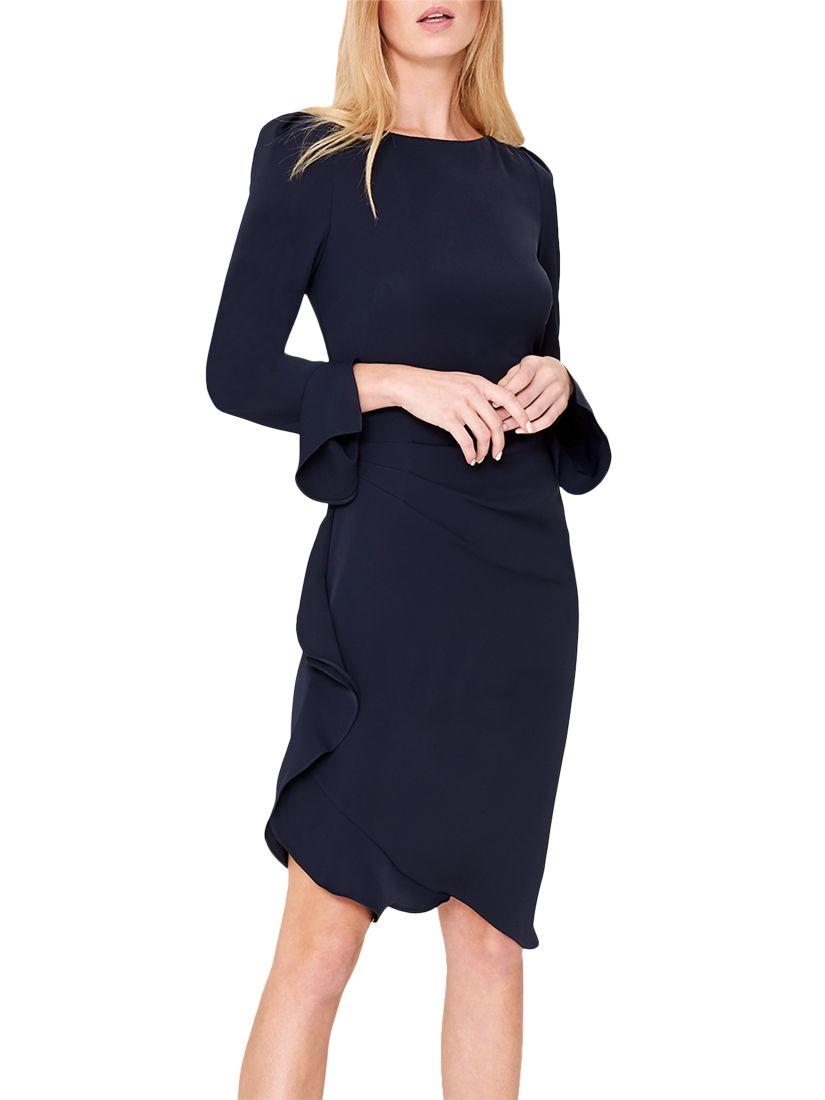 03467337e03 Damsel in a Dress Carrera Frill Tunic Dress, Navy at John Lewis & Partners