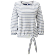 Buy Pure Collection Cotton Tie Hem Striped Sweatshirt Online at johnlewis.com
