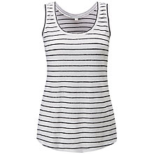 Buy Pure Collection Luxury Linen Jersey Vest, Black/White Online at johnlewis.com