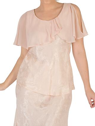 Chesca Chiffon Cape Trim Top, Blush