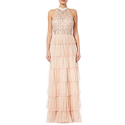 Adrianna Papell Beaded Tiered Skirt Dress, Blush