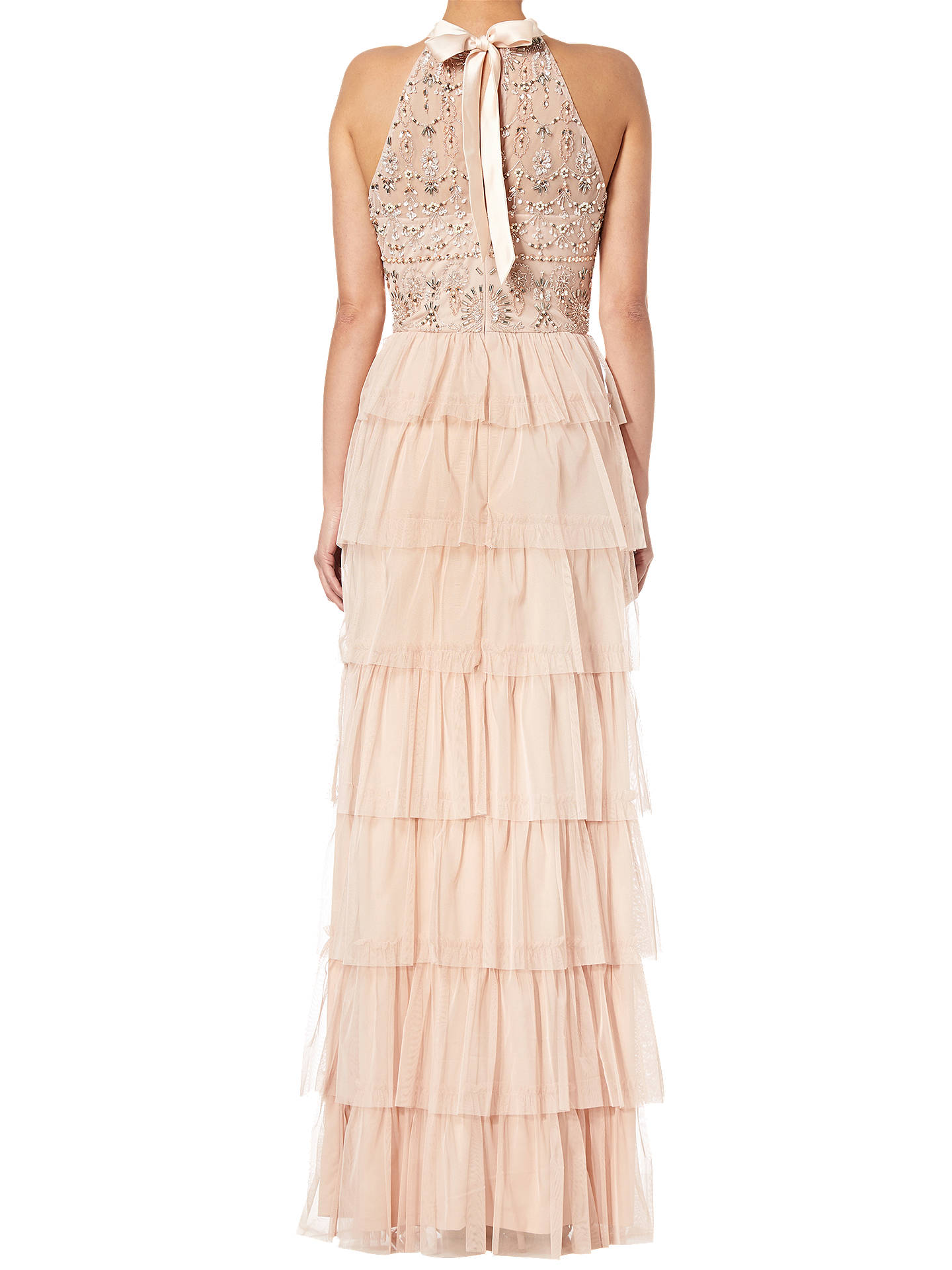 BuyAdrianna Papell Beaded Tiered Skirt Dress, Blush, 6 Online at johnlewis.com