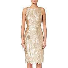 Buy Adrianna Papell Short Floral Sequin Dress, Gold Online at johnlewis.com