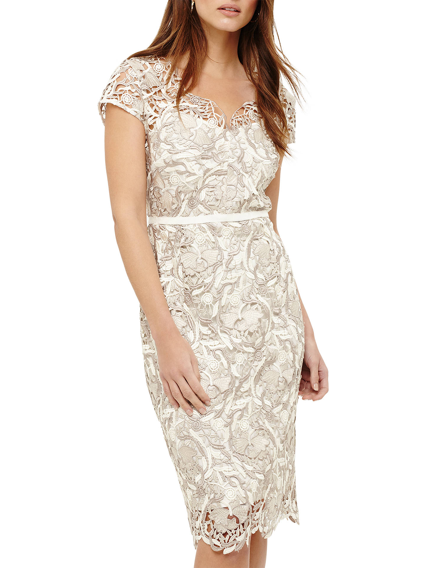 Phase Eight Lottie Lace Dress Cream Oyster