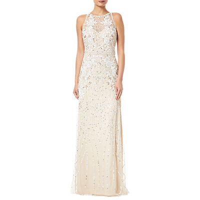 Adrianna Papell Beaded Column Dress, Nude
