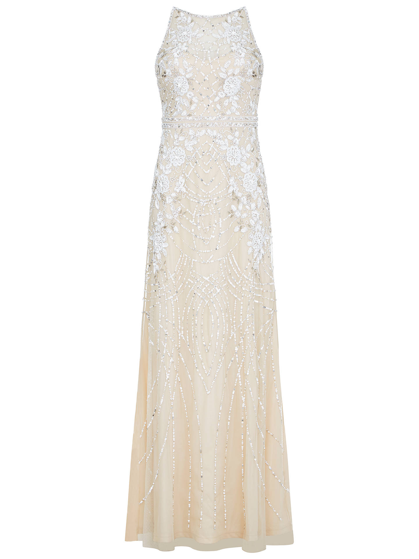 Buy Adrianna Papell Beaded Column Dress, Nude, 8 Online at johnlewis.com