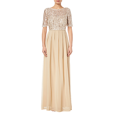Adrianna Papell Beaded Elbow Sleeve Gown, Nude Pink