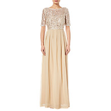 Buy Adrianna Papell Beaded Elbow Sleeve Gown, Nude Pink Online at johnlewis.com