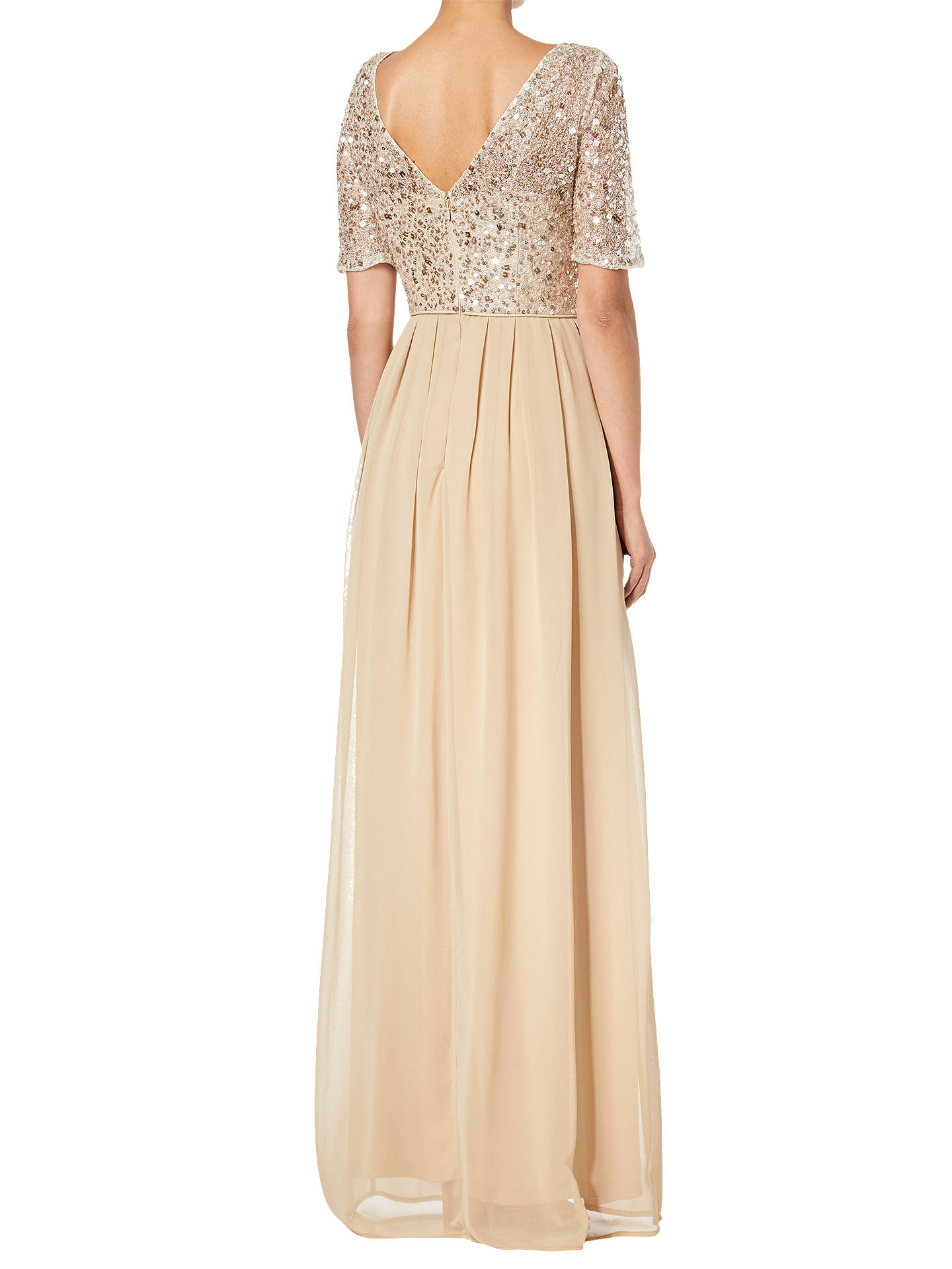 Buy Adrianna Papell Beaded Elbow Sleeve Gown, Nude Pink, 8 Online at johnlewis.com