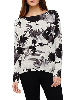 Phase Eight Dawne Daisy Print Knit Top, Lunar Grey