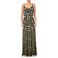 Buy Adrianna Papell Floral Bead Blouson Gown, Olive Multi Online at johnlewis.com