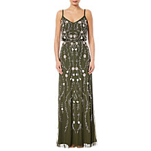 Buy Adrianna Papell Petite Floral Beaded Blouson Gown, Olive/Multi Online at johnlewis.com