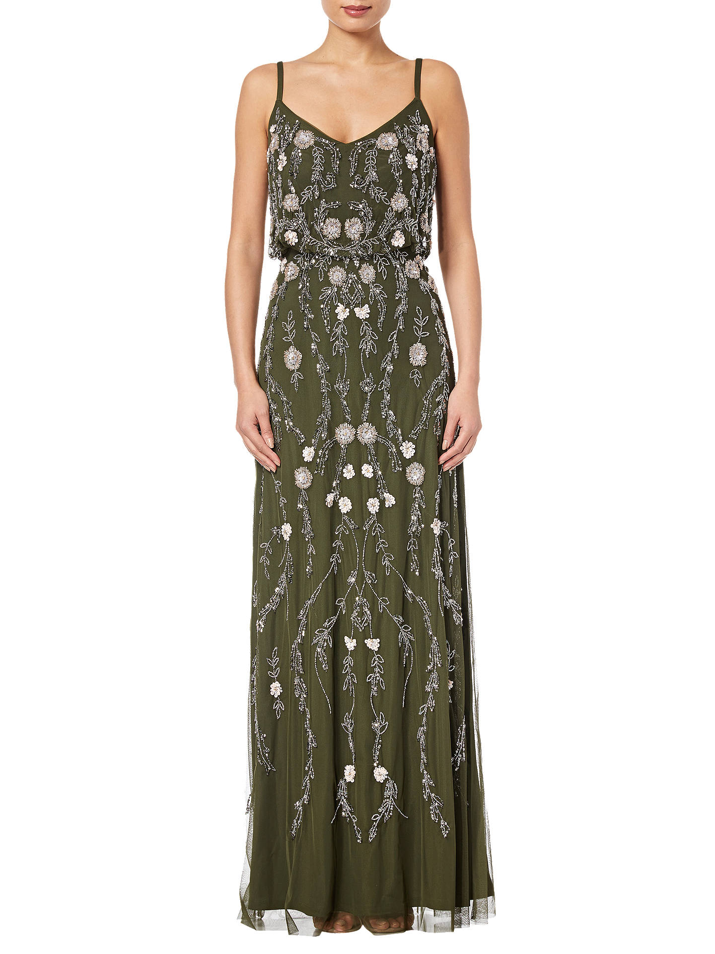 c77039bd6fc2 Buy Adrianna Papell Petite Floral Beaded Blouson Gown, Olive/Multi, 6  Online at ...