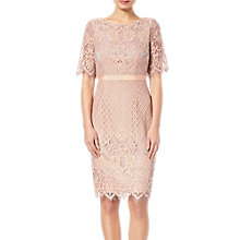 Buy Adrianna Papell Georgia Bell Sleeve Lace Sheath Dress, Peach/Lilac Online at johnlewis.com