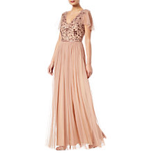 Buy Adrianna Papell Long Beaded Dress, Rose Gold Online at johnlewis.com