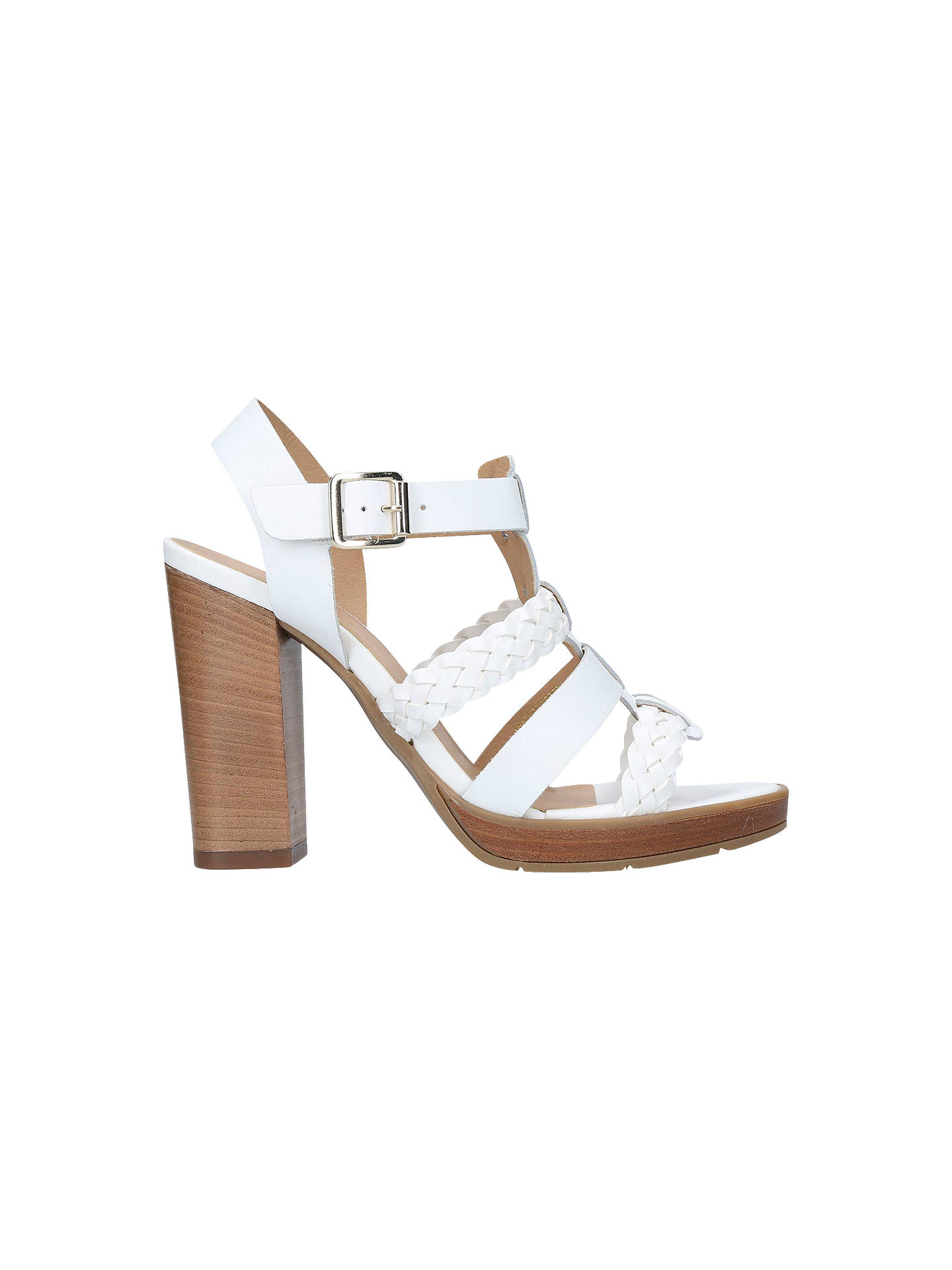BuyCarvela Krill Block Heeled Sandals, White Leather, 3 Online at johnlewis.com