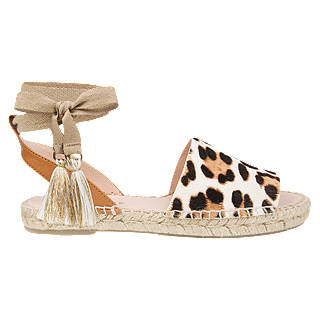 Air & Grace Eulalia Two Part Sandals, Leopard Leather