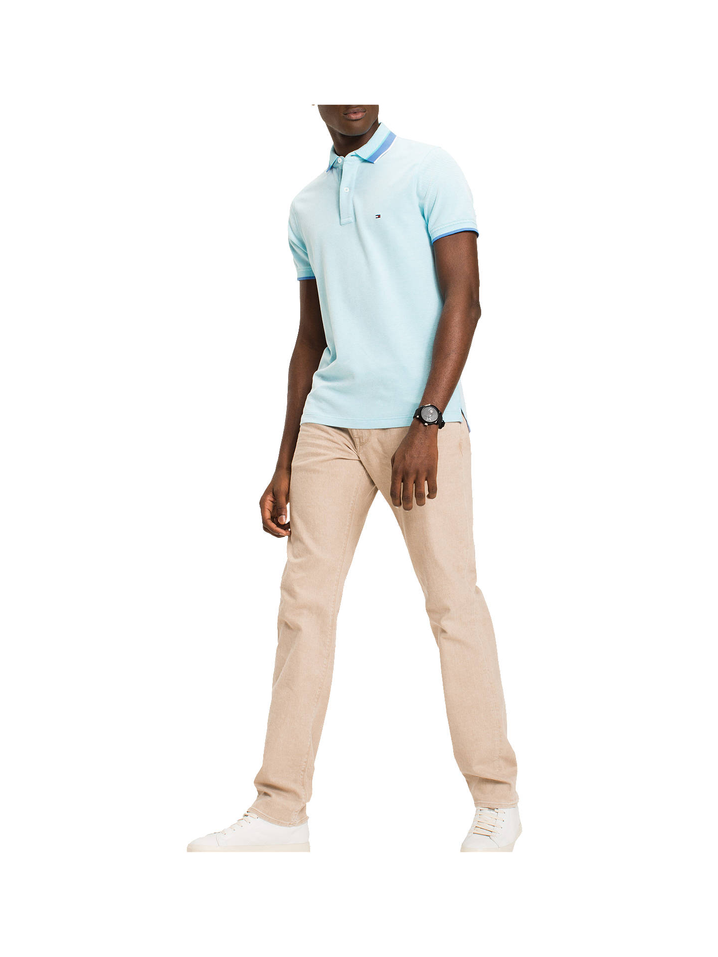 b227123c Buy Tommy Hilfiger Oxford Tipped Slim Polo Shirt, Capri, S Online at  johnlewis.