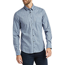 Buy BOSS Erum Printed Long Sleeve Slim Fit Shirt, Dark Blue Online at johnlewis.com