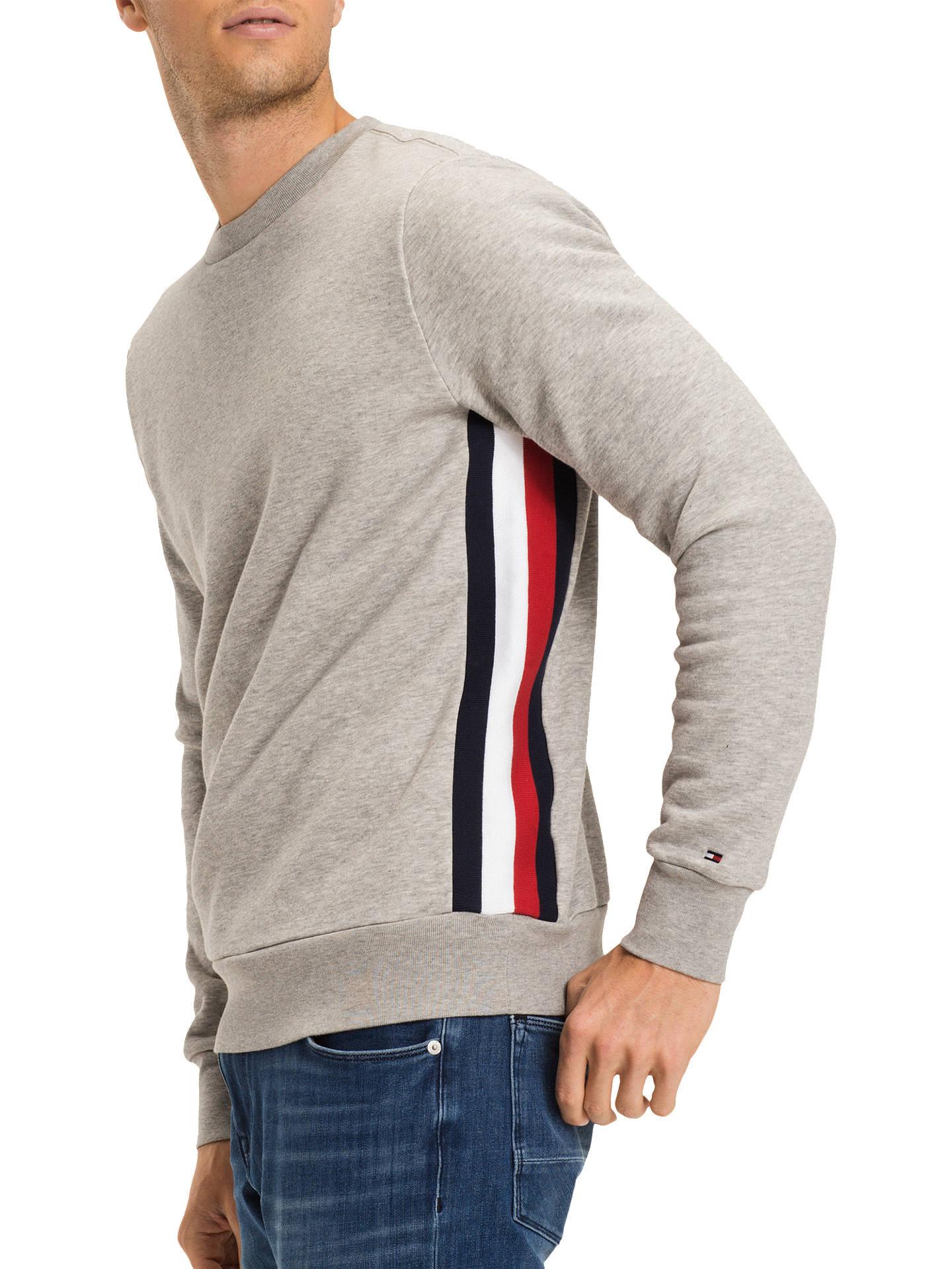 9d2a37a8a2 Buy Tommy Hilfiger Stripe Logo Sweatshirt, Cloud Heather, S Online at  johnlewis.com ...