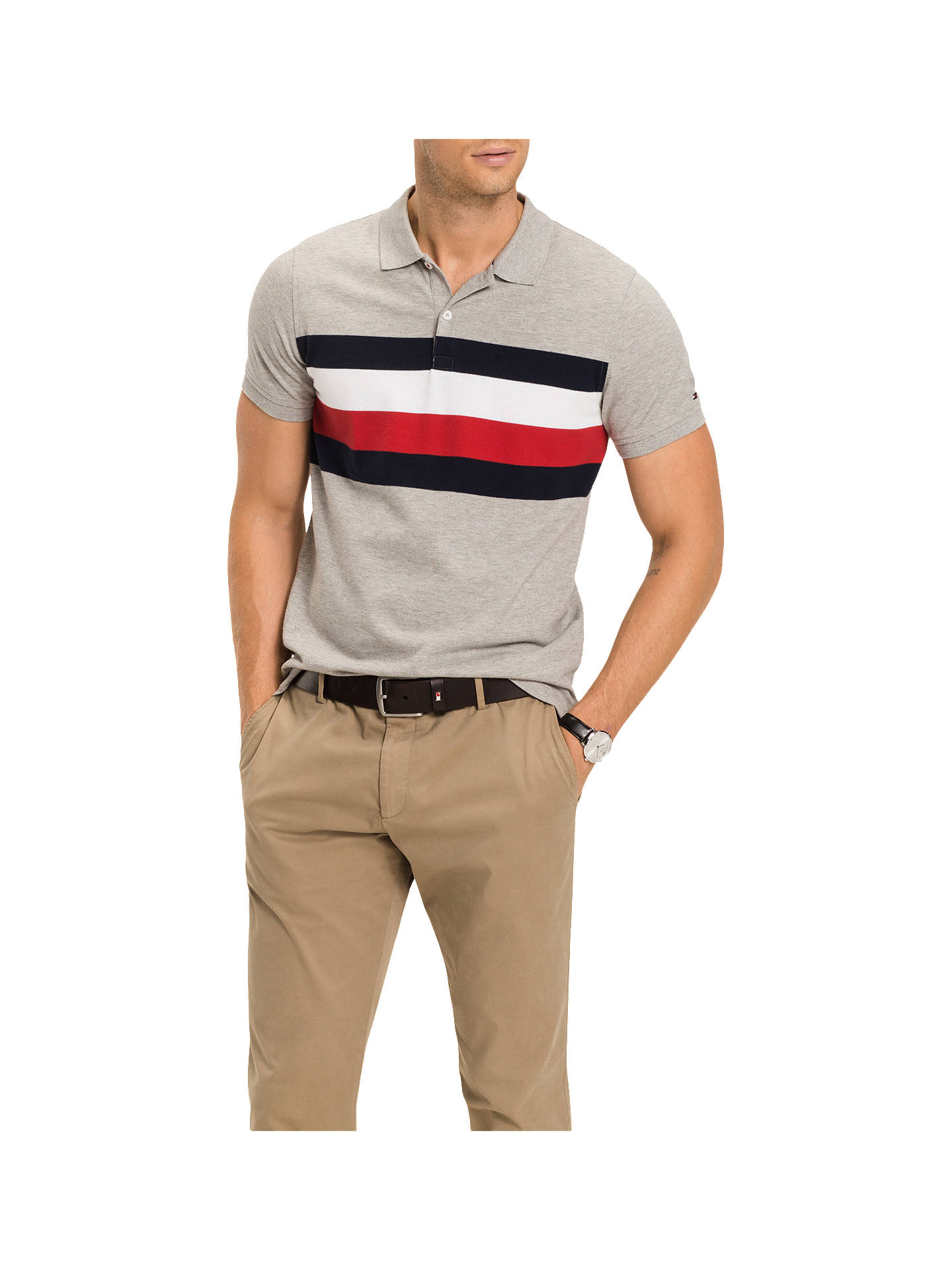27e8d44f499ee5 Tommy Hilfiger Chest Stripe Polo Shirt at John Lewis   Partners