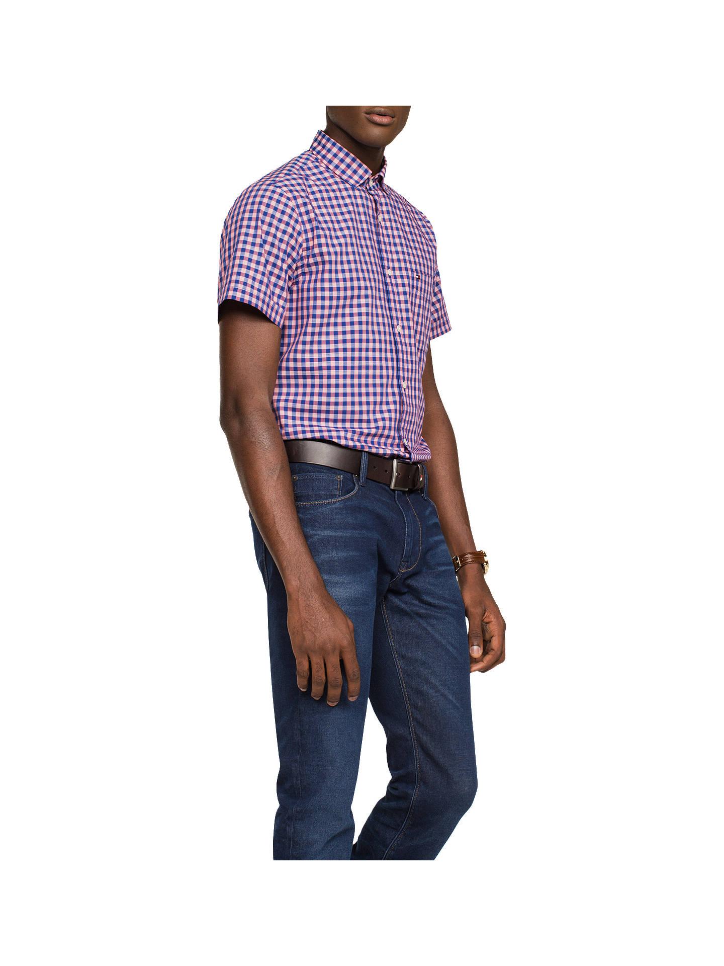 8490aaa5d Buy Tommy Hilfiger Short Sleeve Slim Fit Gingham Shirt, Rose Of Sharon/  Sodalite Blue ...
