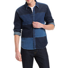 Buy Tommy Hilfiger Regular Fit Panel Denim Shirt, Collation Blue Online at johnlewis.com