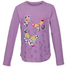 Buy Fat Face Girls' Long Sleeve Butterfly T-Shirt, Purple Online at johnlewis.com