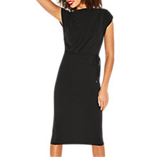 Buy Oasis Drape Column Dress, Black Online at johnlewis.com
