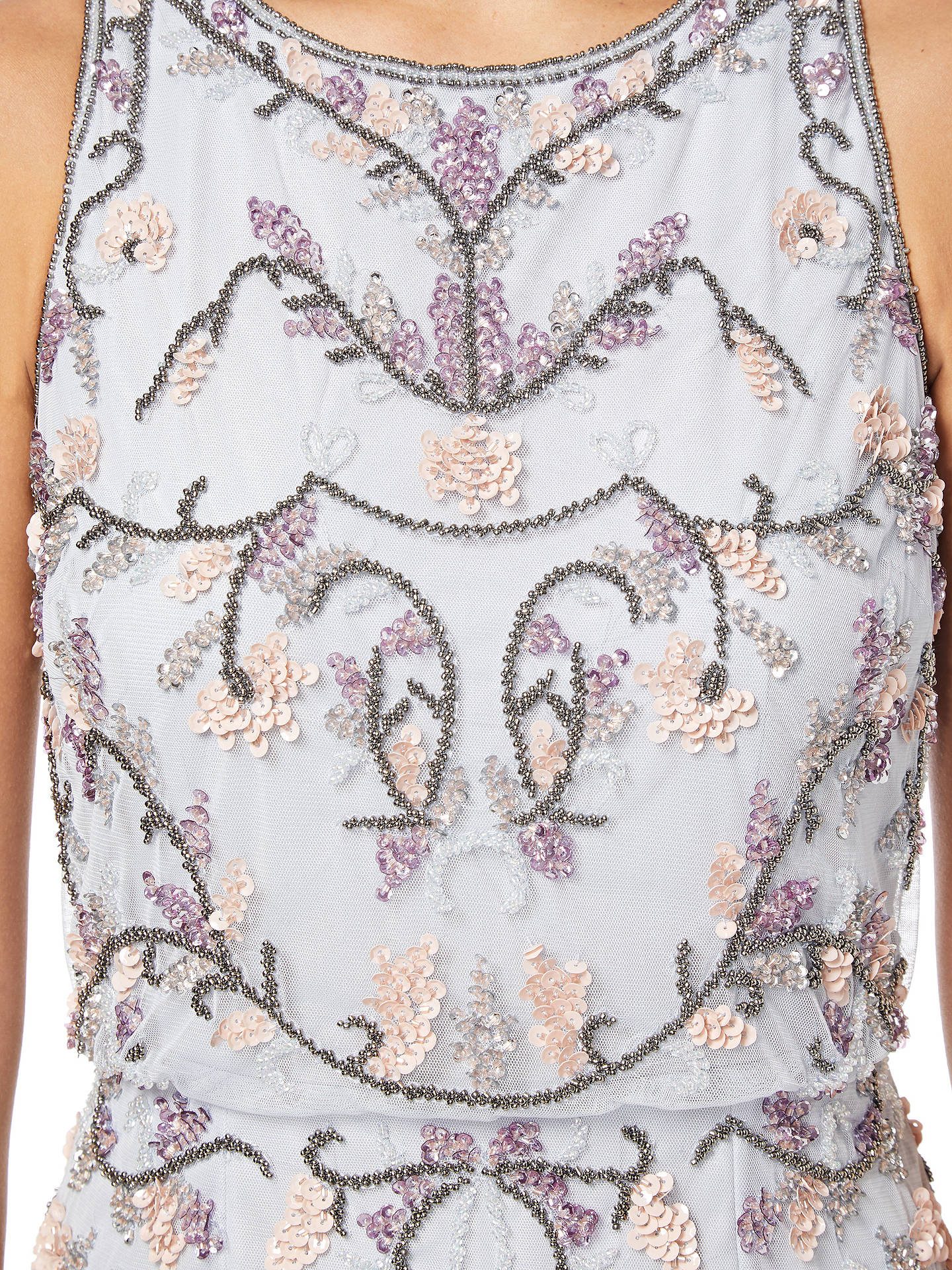 Buy Adrianna Papell Halter Floral Beaded Cocktail Dress, Serenity, 8 Online at johnlewis.com