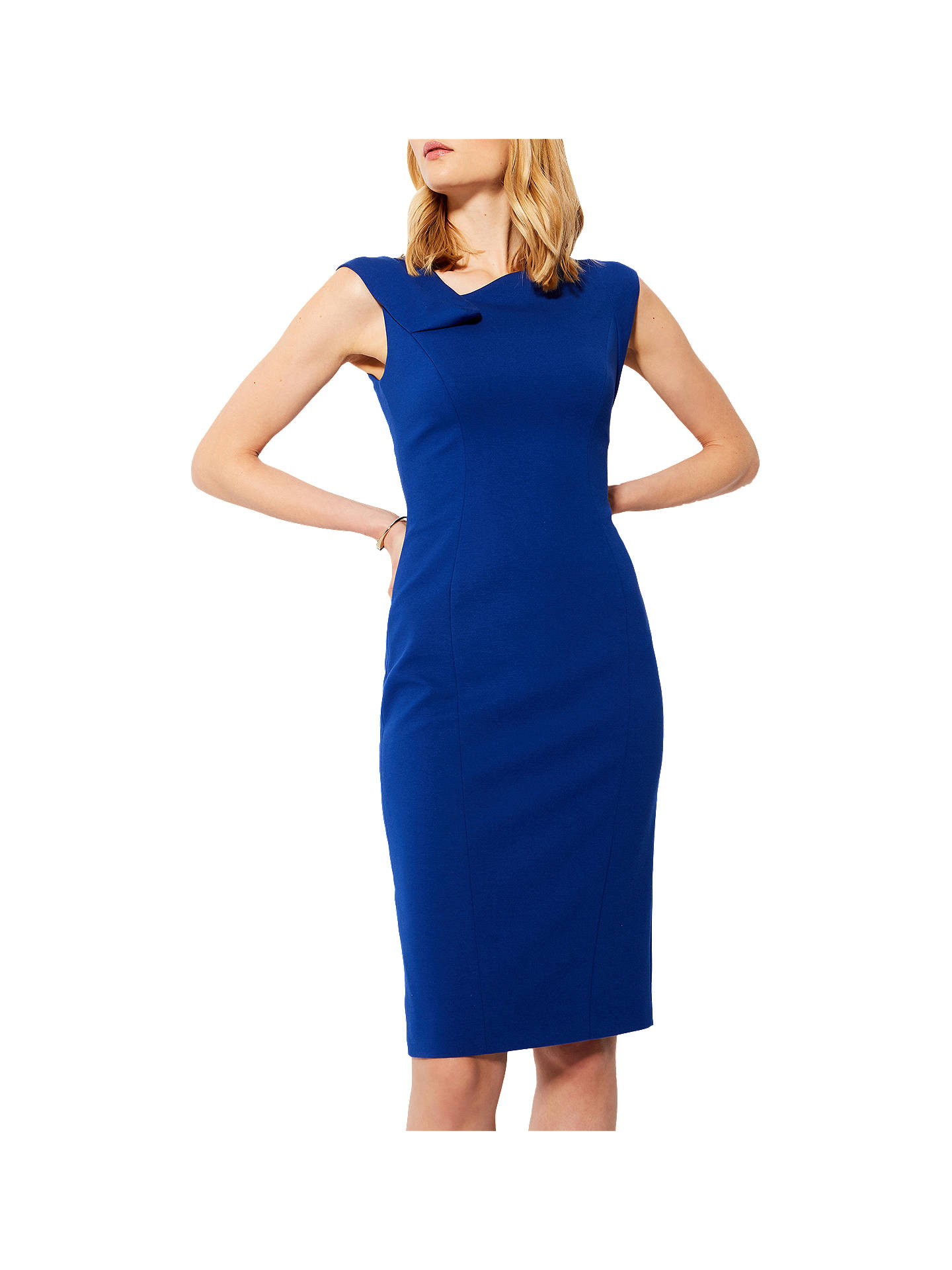 b25de76c45e3 Buy Karen Millen Fold Detail Pencil Dress, Blue, 6 Online at johnlewis.com  ...