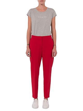 French Connection Whisper Ruth Tapered Trousers, Blazer Red