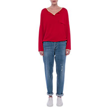 Buy French Connection Summer Silk Knit Tie Waist Jumper, Blazer Red Online at johnlewis.com