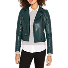 Buy Oasis Lucy Faux Leather Biker Jacket, Deep Green Online at johnlewis.com