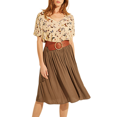 Gerard Darel Adele Flared Midi Skirt, Green