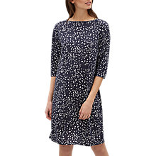 Buy Jaeger Ditsy Print Jersey Dress, Navy/White Online at johnlewis.com