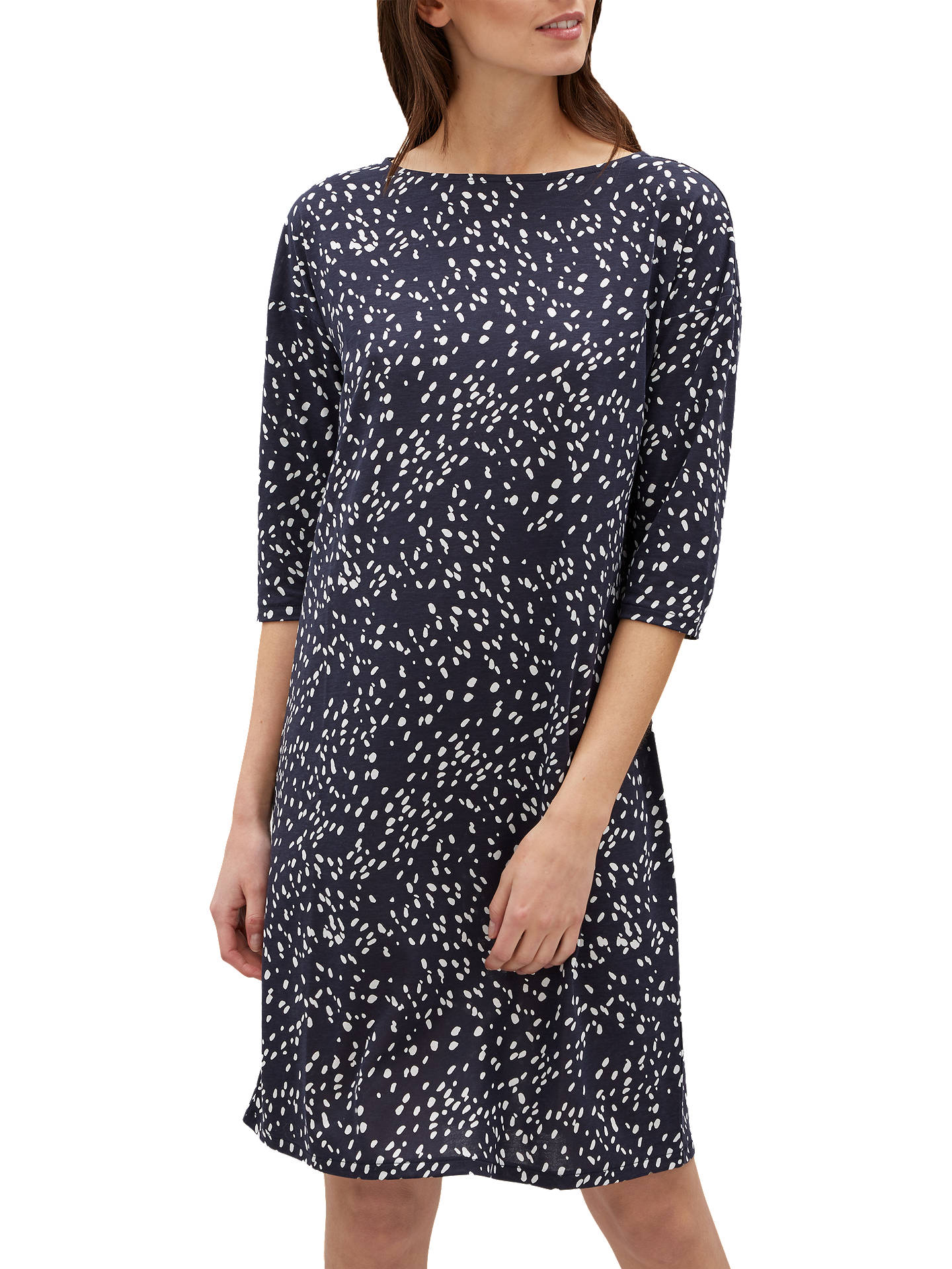 BuyJaeger Ditsy Print Jersey Dress, Navy/White, XS Online at johnlewis.com